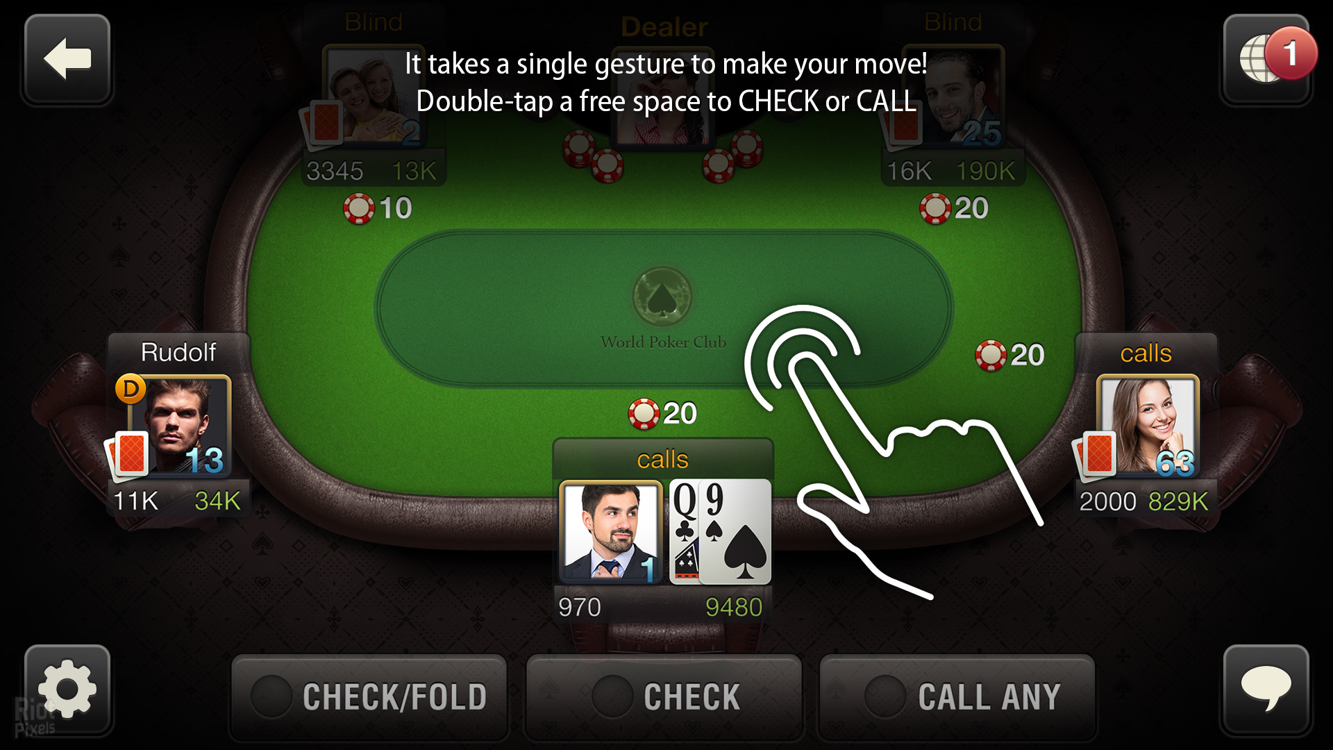 Poker game with multiplayer