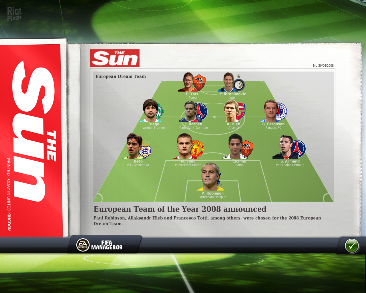Fifa soccer 09 brings back eas soccer series for another year with updated rosters, improved graphics